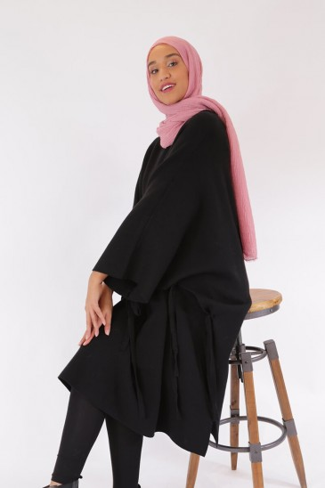 Poncho Maribel Black Color pas cher & discount
