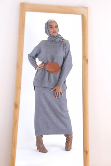 Skirt Hafeeza Grey Color pas cher & discount