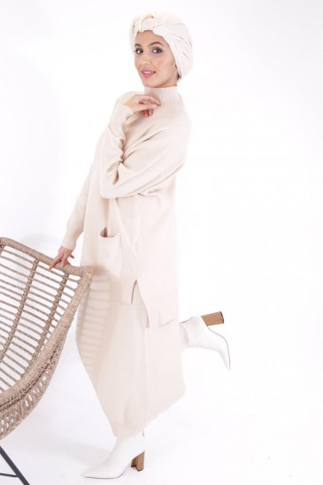 Skirt Hafeeza- Beige Color pas cher & discount
