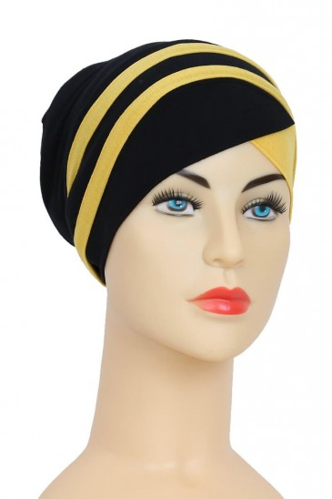 Turban Yoana Black and Yellow Color for woman pas cher & discount
