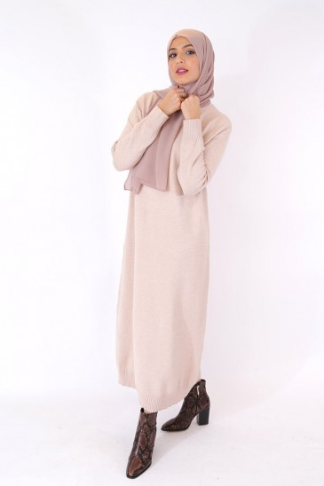 Dress Asma Beige Color pas cher & discount