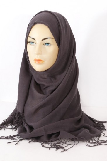 Hijab Pashmina royal- dark grey pas cher & discount