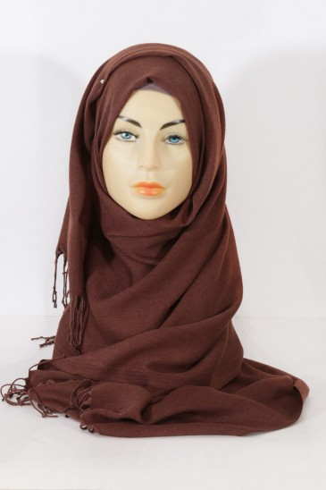Hijab Pashmina royal- dark brow pas cher & discount