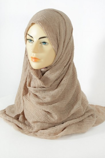 Hijab bubble chiffon pleated dark beige pas cher & discount