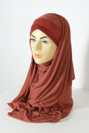 Hijab Mervé Maxi Cap wrap headwear - rust color pas cher & discount
