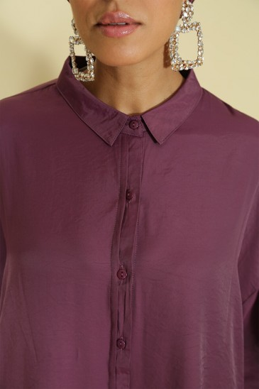Woman shirt Anissa plum color pas cher & discount