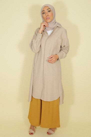 Tunic  Ghyslene light taupe color pas cher & discount