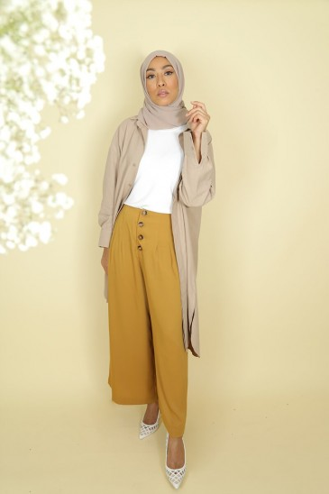 Woman Pant Pallazo Laysa Moustard Color pas cher & discount
