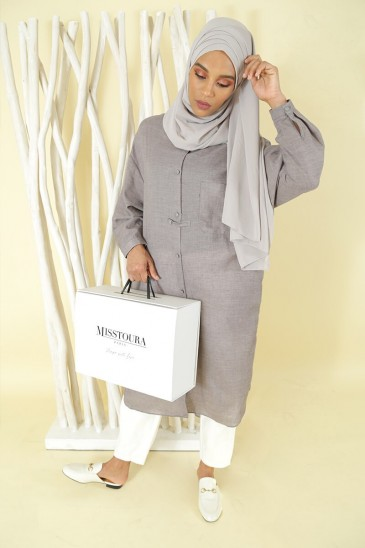 Tunic Nadjah Grey color pas cher & discount