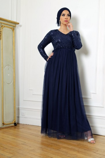 Dress Elynn Navy blue color pas cher & discount