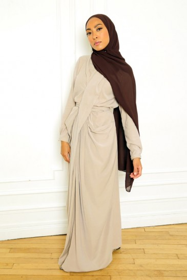 Dress Alya Taupe Color pas cher & discount