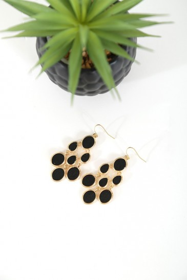 Earrings Dias black gold color pas cher & discount