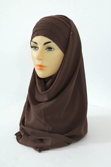 Hijab easy style- Marron pas cher & discount