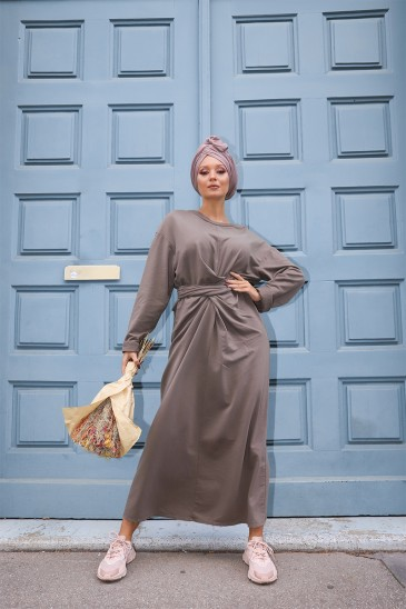 Robe à noeud Nyna Taupe pas cher & discount
