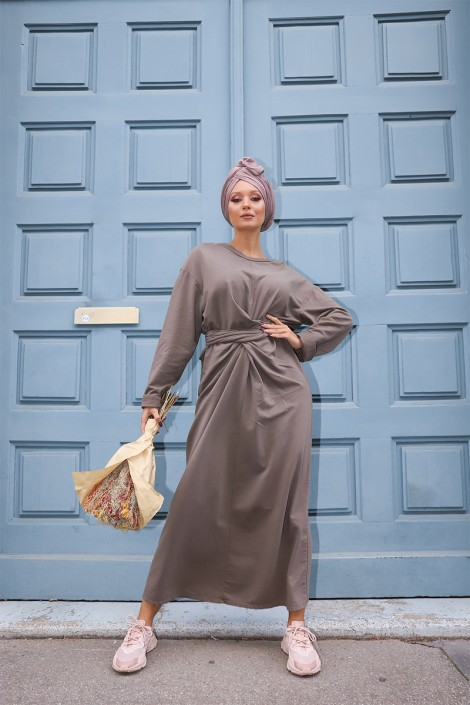 Robe à noeud Nyna Taupe