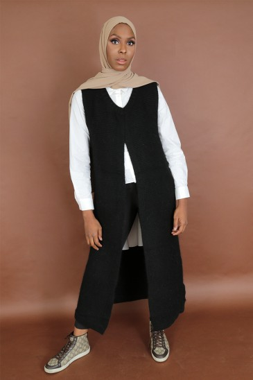 Sleeveless vest Jahida Black Color pas cher & discount