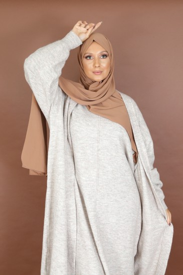 Elegant femal vest Yola with long sleeve powder color pas cher & discount